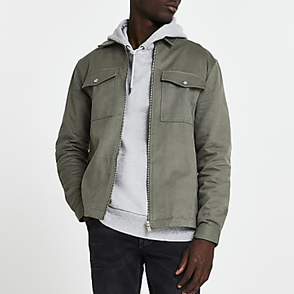 Khaki zip front long sleeve overshirt