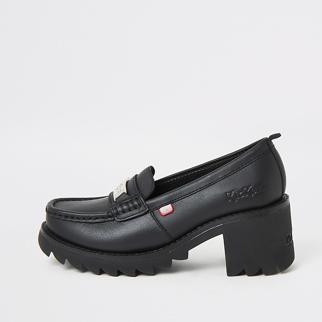 Kickers black Klio chunky heel loafers