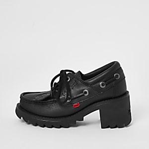 Mocassins Kickers noir avec talons et lacets