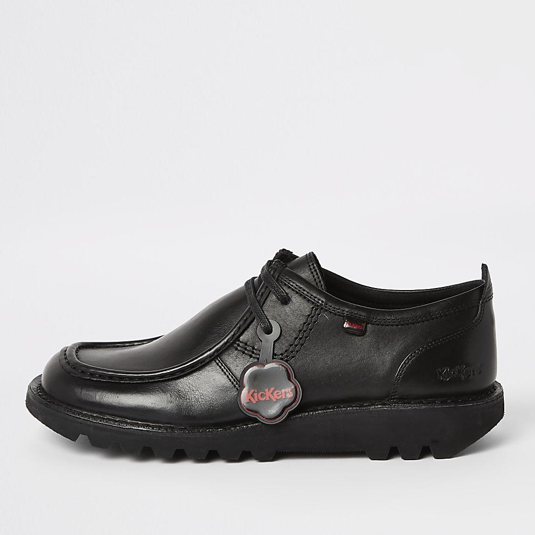 Kickers - Zwarte leren lage schoenen