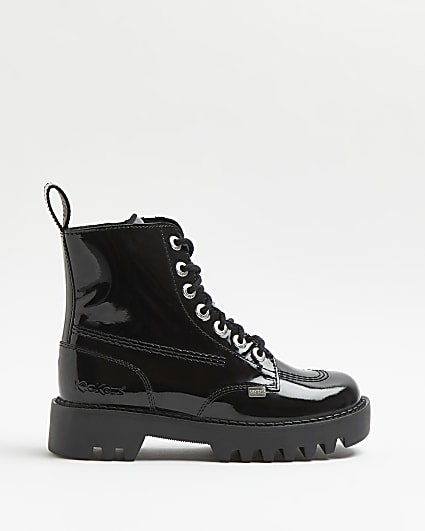 Kickers black patent ankle boots
