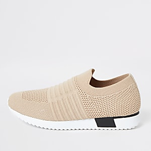 Kids beige knit runner trainers