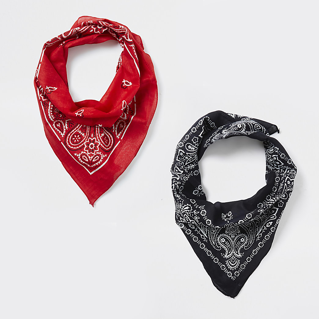Kids black 2 pack bandanna face covering