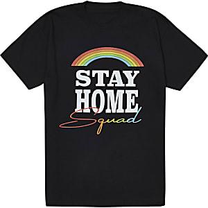 Liefdadigheids-T-shirt  met 'Stay Home Squad'-tekst voor kinderen