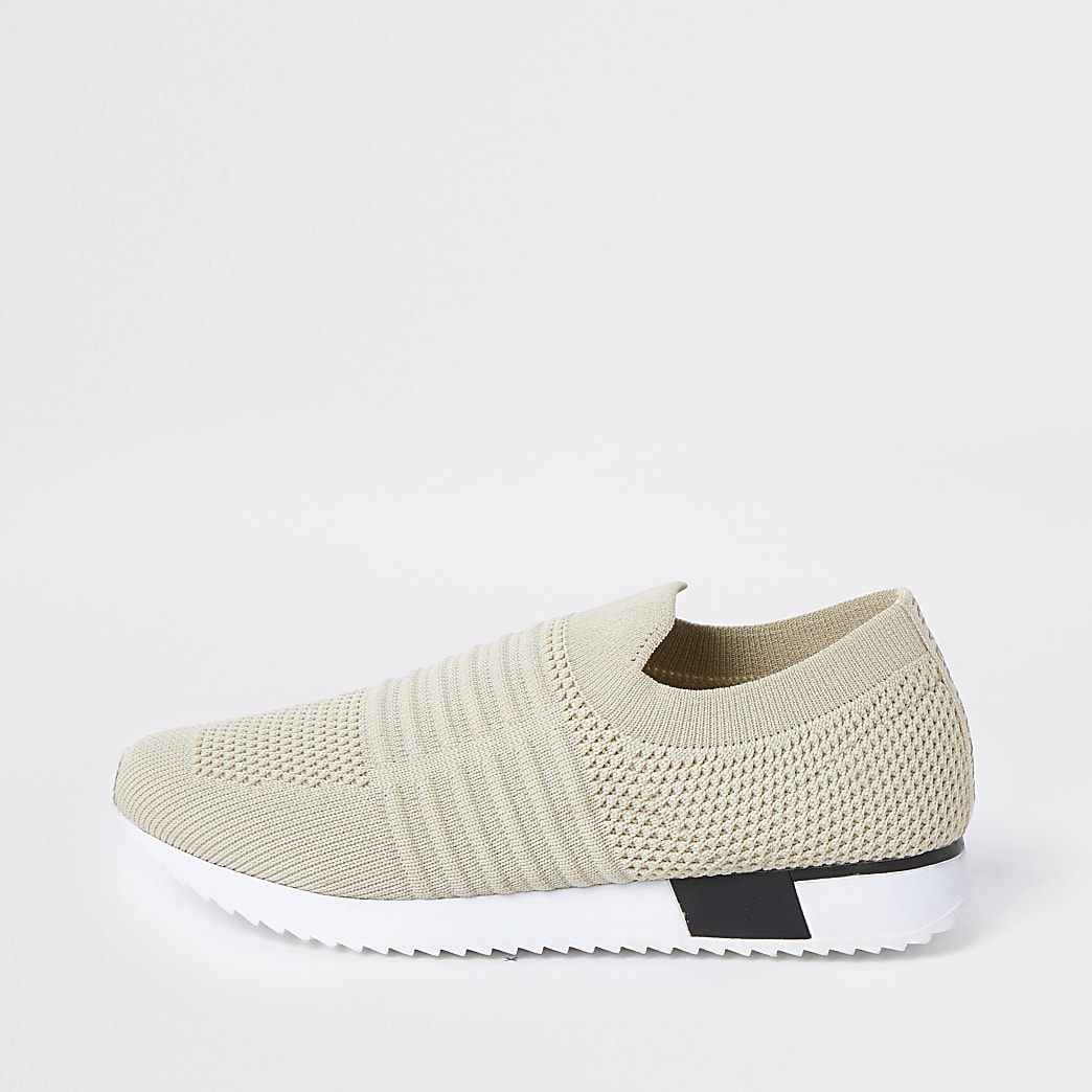 Kids cream knit runner trainers