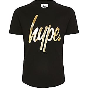 Hype – Schwarzes T-Shirt mit Metallic-Print