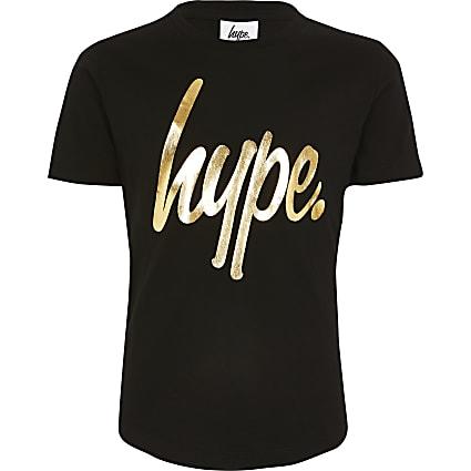 Kids Hype black metallic print T-shirt