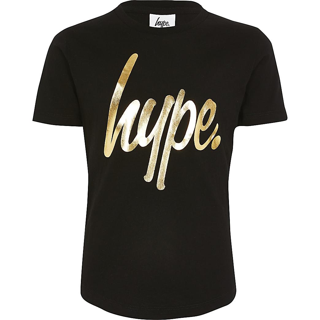 Hype - Zwart T-shirt met metallic-print voor kids