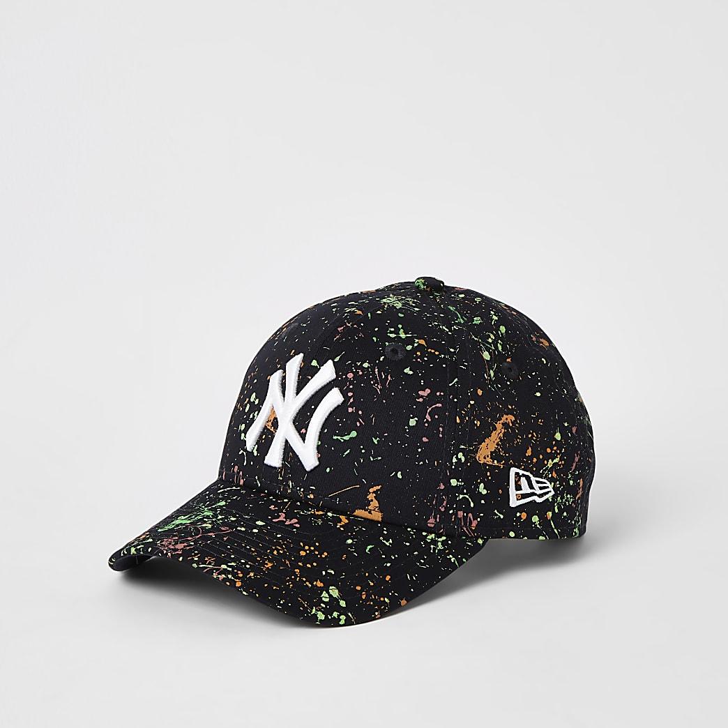 Kids New Era black NY paint splatter hat