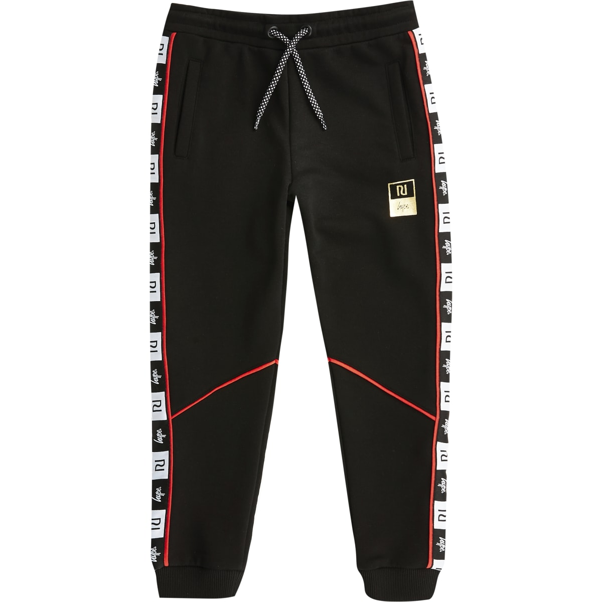 Kids RI x Hype black tape joggers