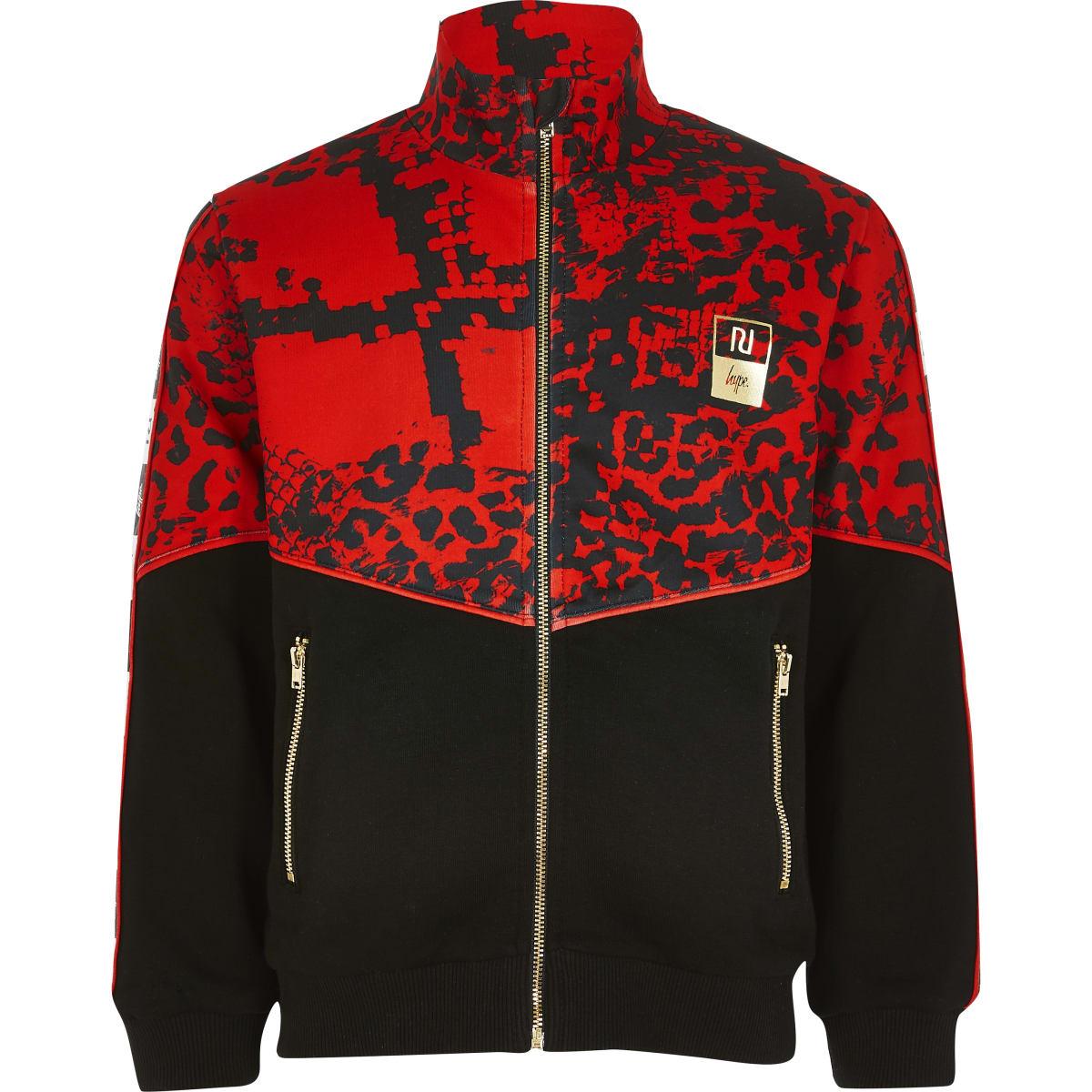 RI x Hype - Rode hoodie met rits en kleurvlakken voor kinderen