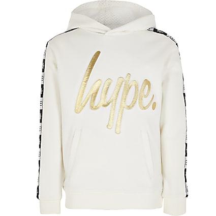 Kids RI x Hype white embossed hoodie