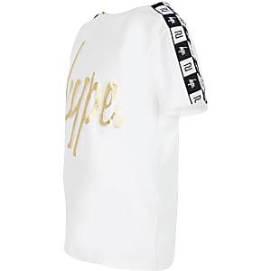 RI x Hype - Wit T-shirt met reliëf en bies voor kinderen