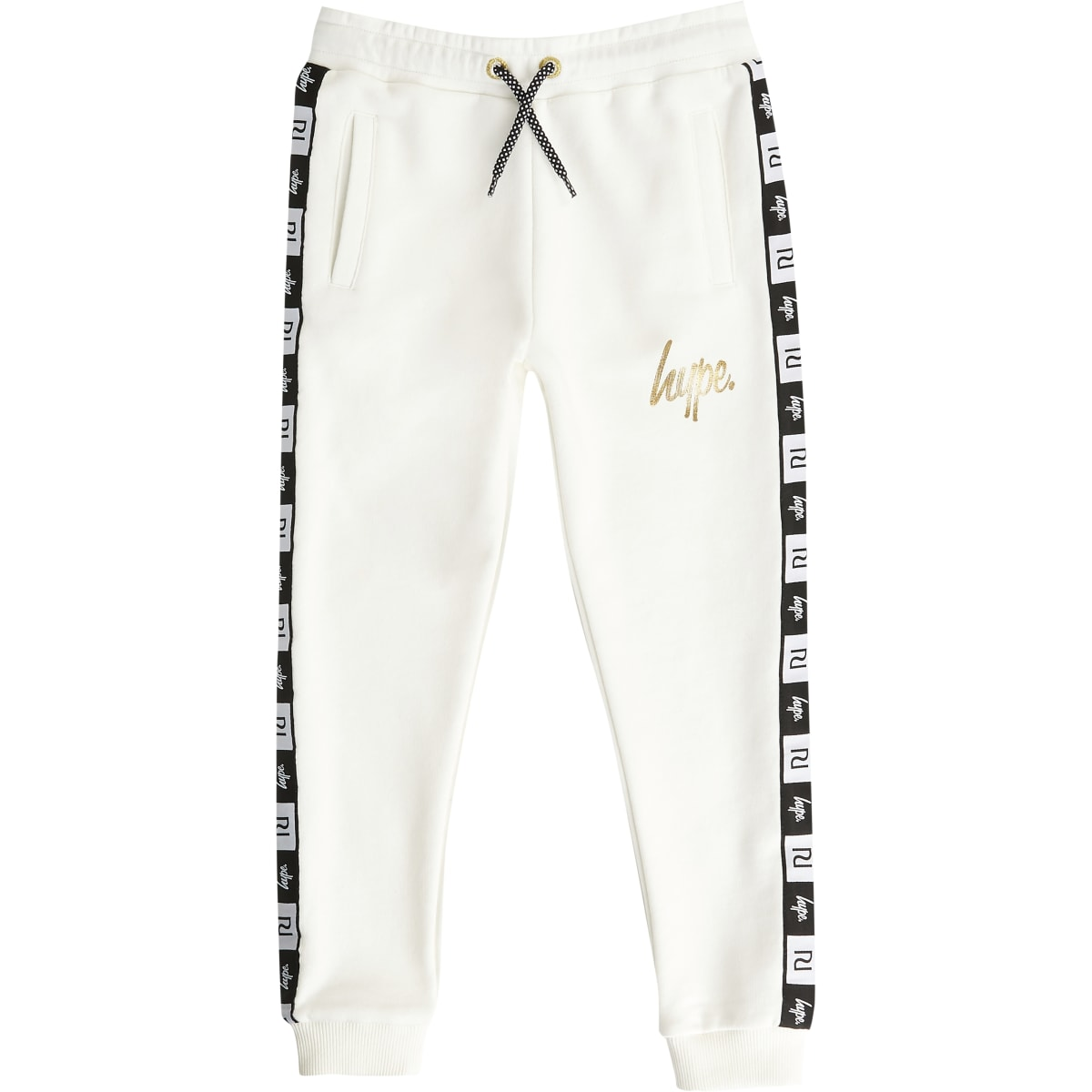 Kids RI x Hype white tape joggers