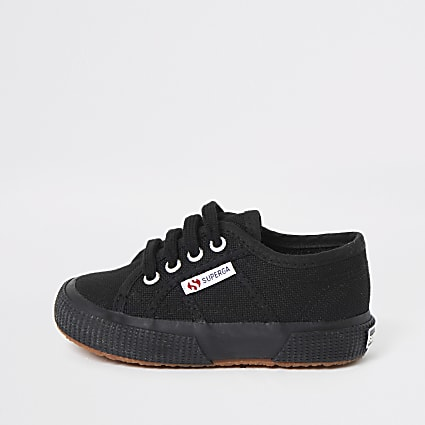 Kids Superga black lace-up plimsolls