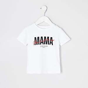 Wit T-shirt met 'Mama'-print voor kids