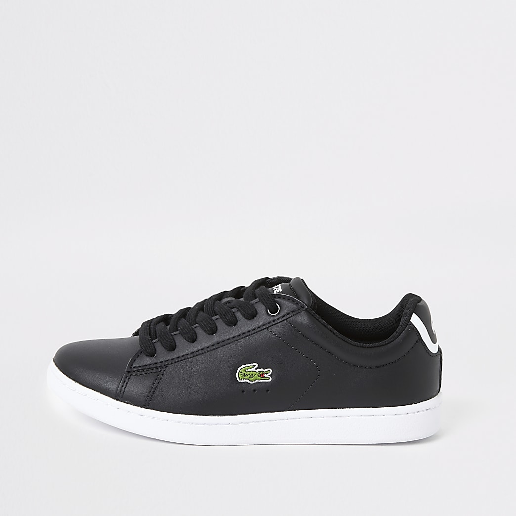 Lacoste black leather logo trainers