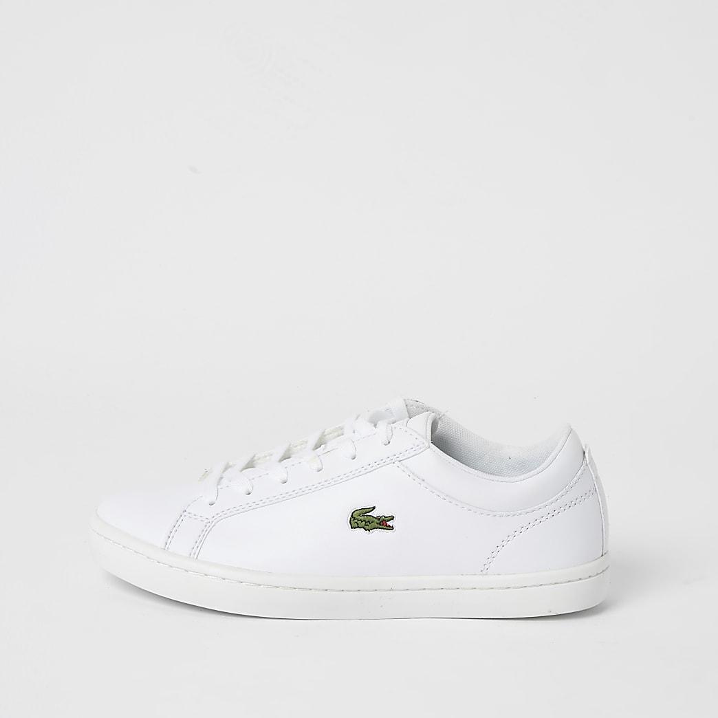 Lacoste - Witte leren vetersneakers