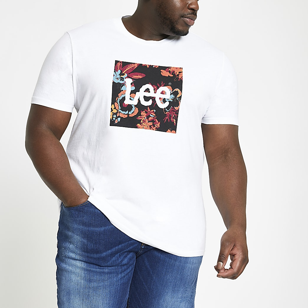 Lee – Big & Tall – Weißes T-Shirt mit Logo
