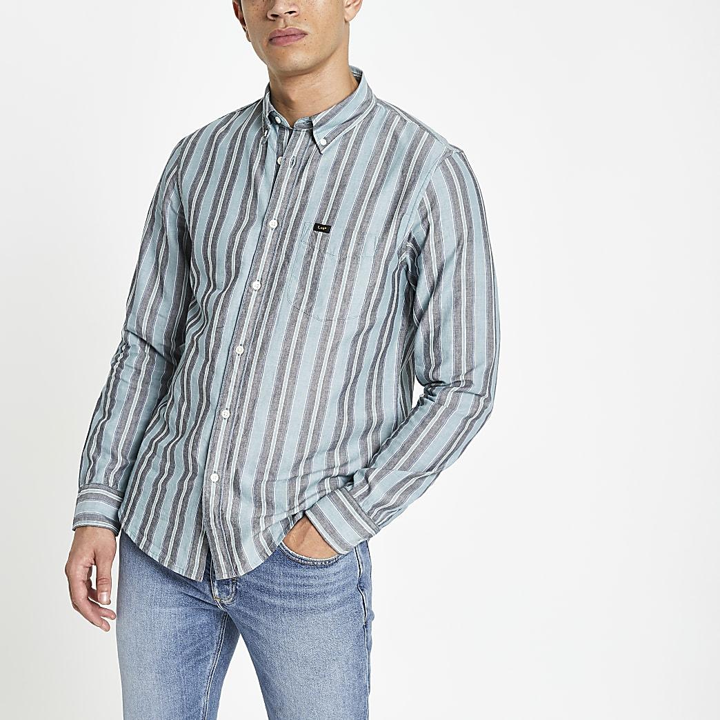 Lee - Groen gestreept overhemd met normale pasvorm