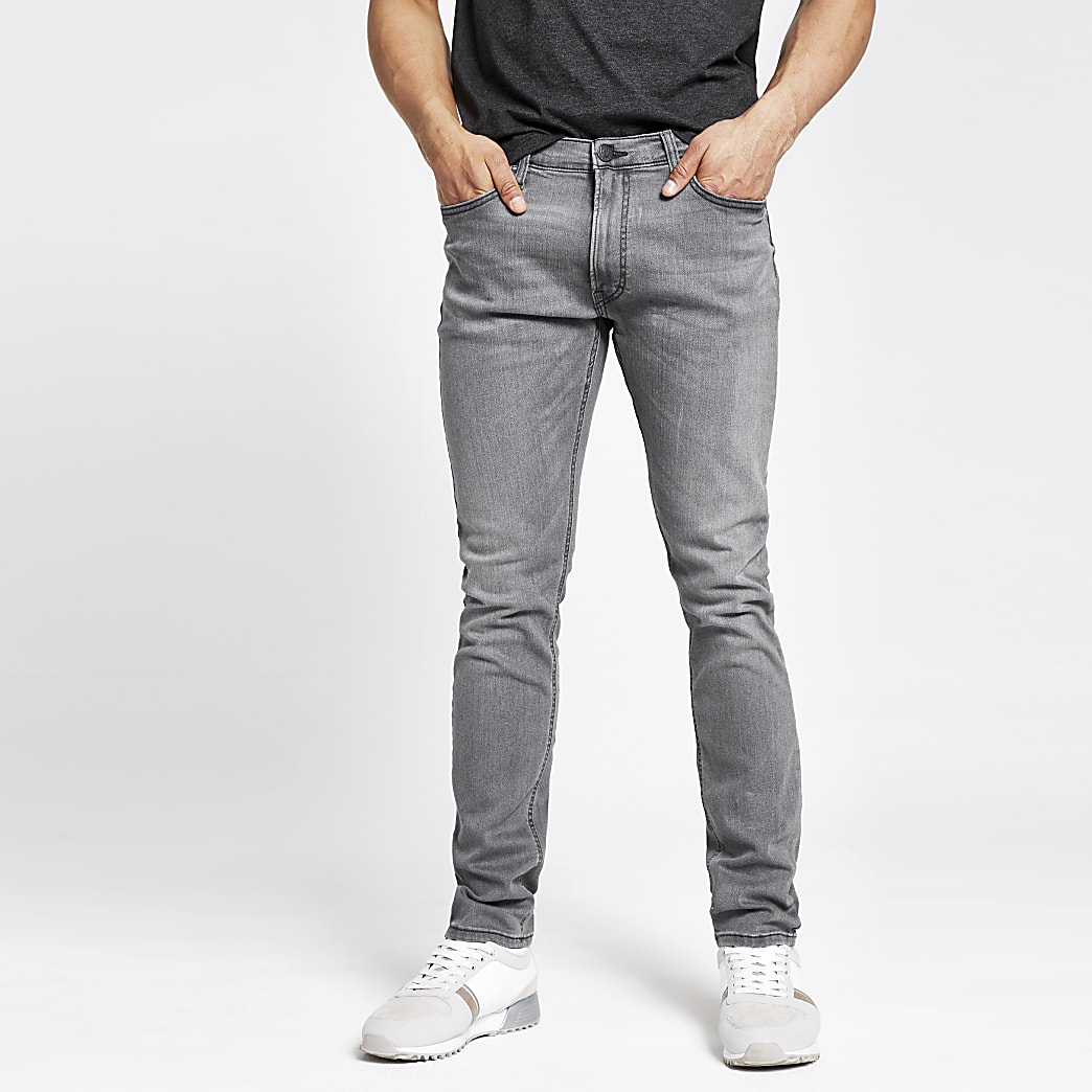 Lee - Grijze smaltoelopende slim-fit jeans