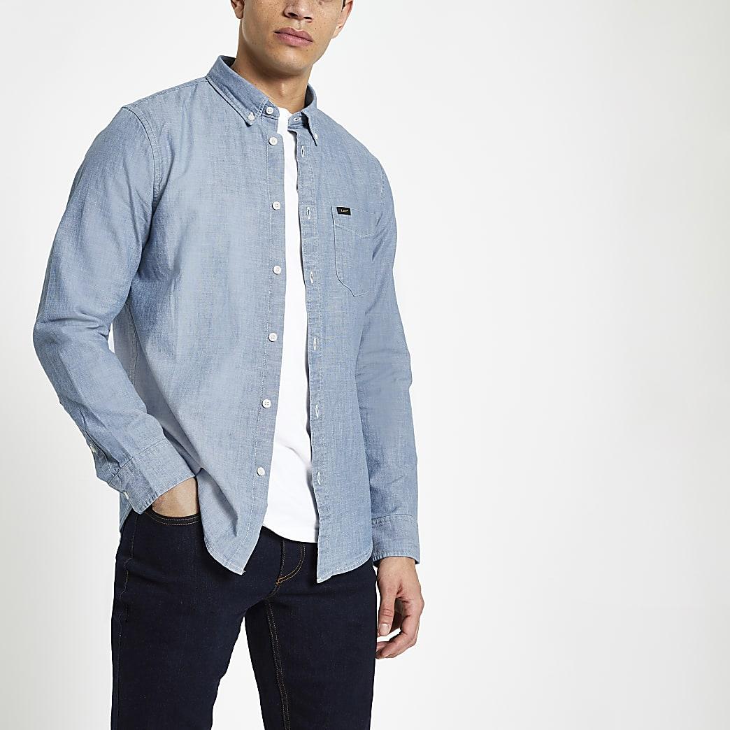 Lee - Lichtblauw denim overhemd met normale pasvorm