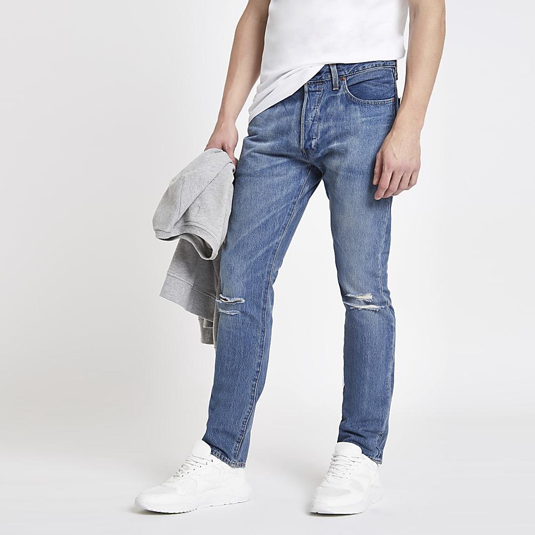 Levi's light blue 501 skinny jeans