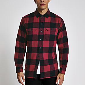 Levi's – Rot kariertes, langärmliges Hemd