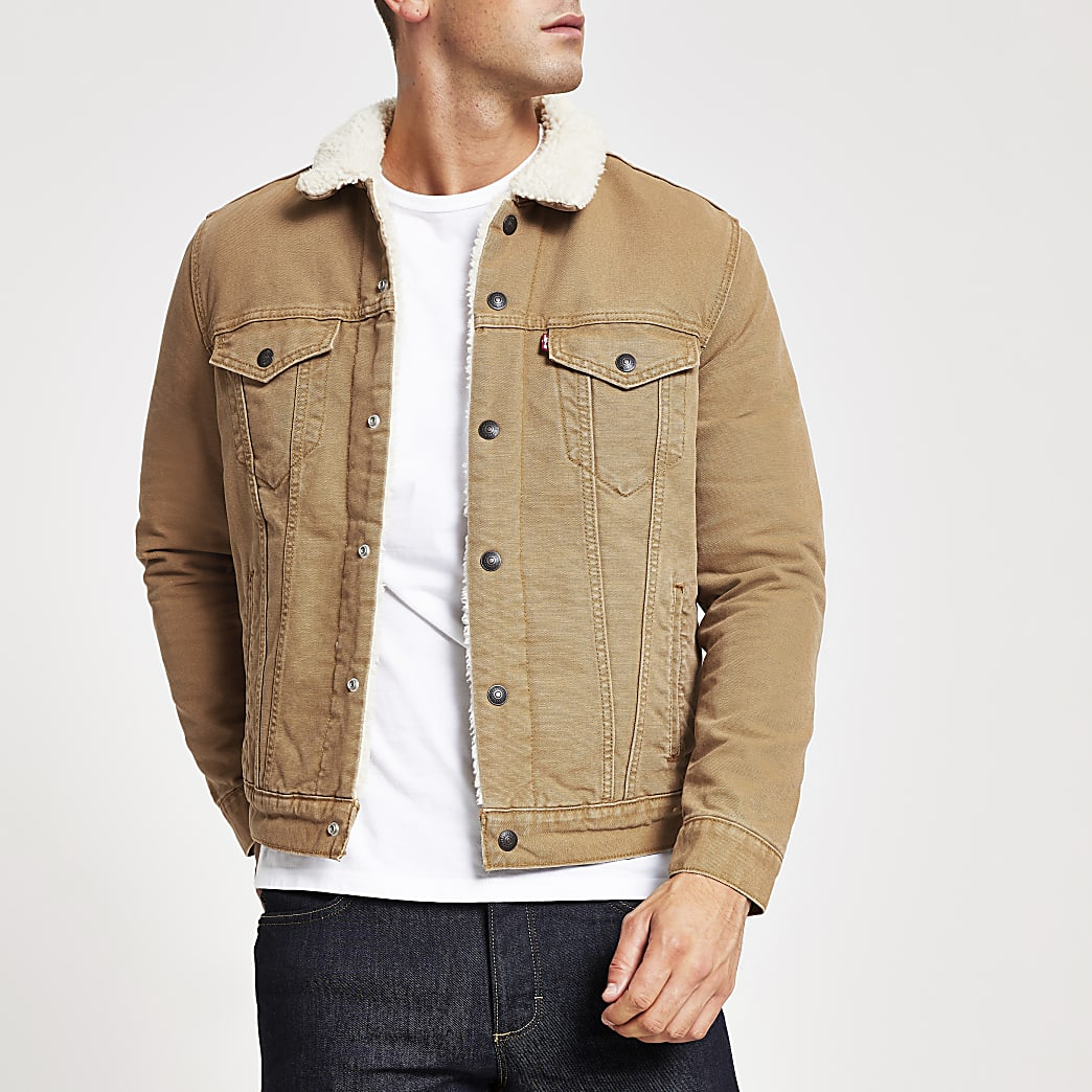 Levi's – Veste Type 3 grège à bordure imitation mouton
