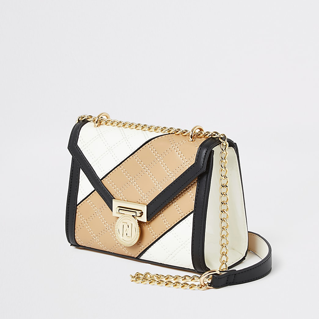 Light Beige And Tan Quilted Cross Body