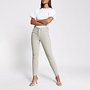 Hailey – Jean skinnytaille haute beige clair