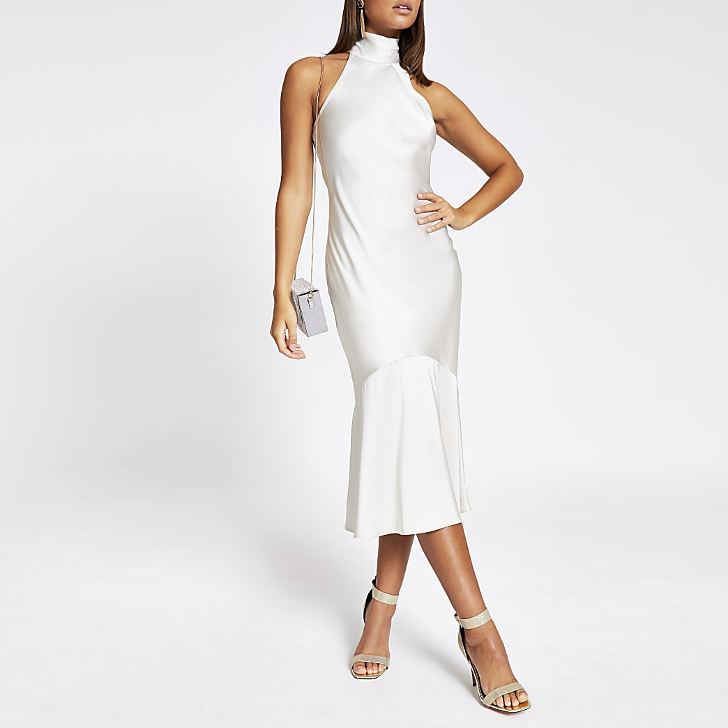 Light beige tie back satin midi dress