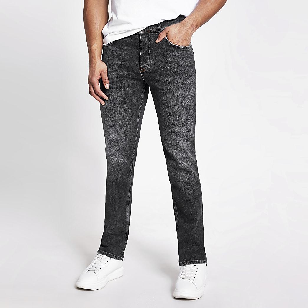 Dean - Lichtzwarte  jeans met rechte pijpen