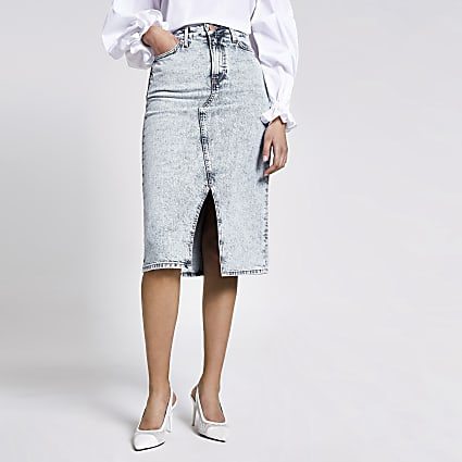 Light blue A line denim midi skirt