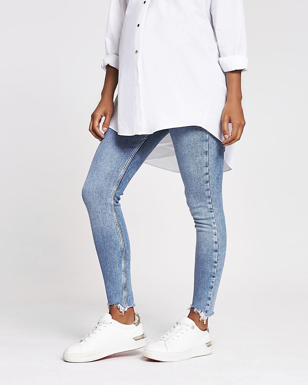 Light blue Amelie overbump maternity jeans