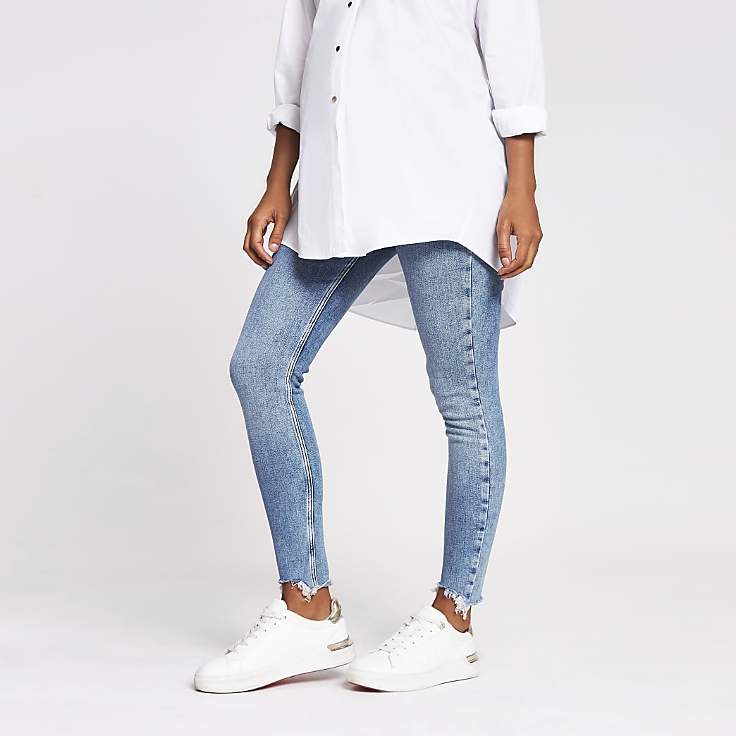 Light blue Amelie overbump maternity jeans