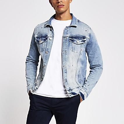 Light blue bleach denim jacket