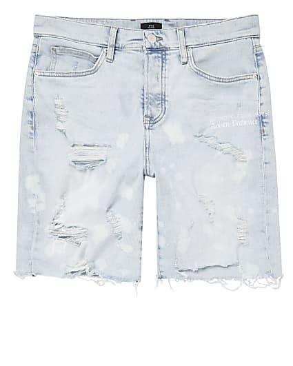 Light blue bleach denim shorts