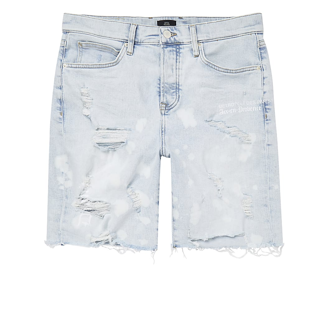 Light blue bleach denim shorts