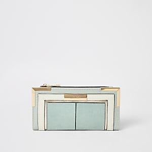 Lichtblauwe uitvouwbare portemonnee met kleurvlakken