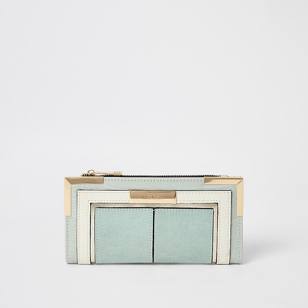 Portefeuille pliable colour block bleu clair