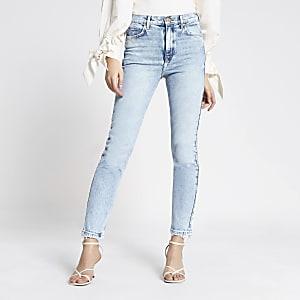 "Hellblaue SlimJeans ""Brooke"" mit hohem Bund"