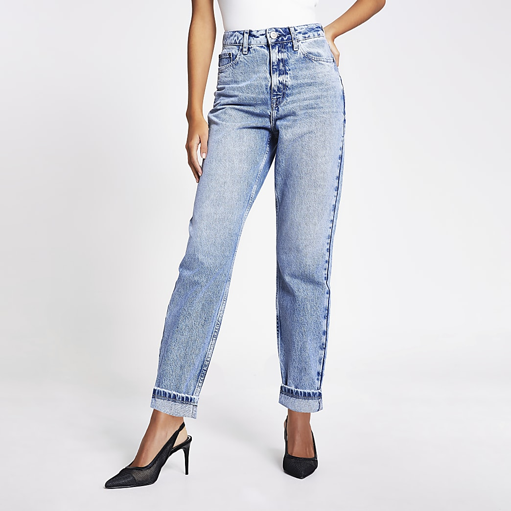 Carrie - Jean Mom taille haute bleu clair