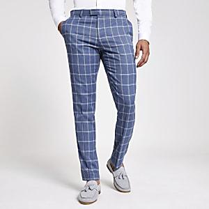 Lichtblauwe geruite pantalon