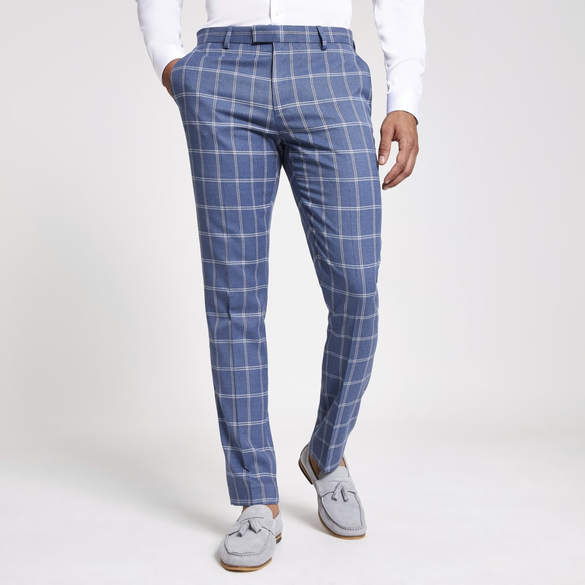 Pantalon de costume à carreaux bleu clair
