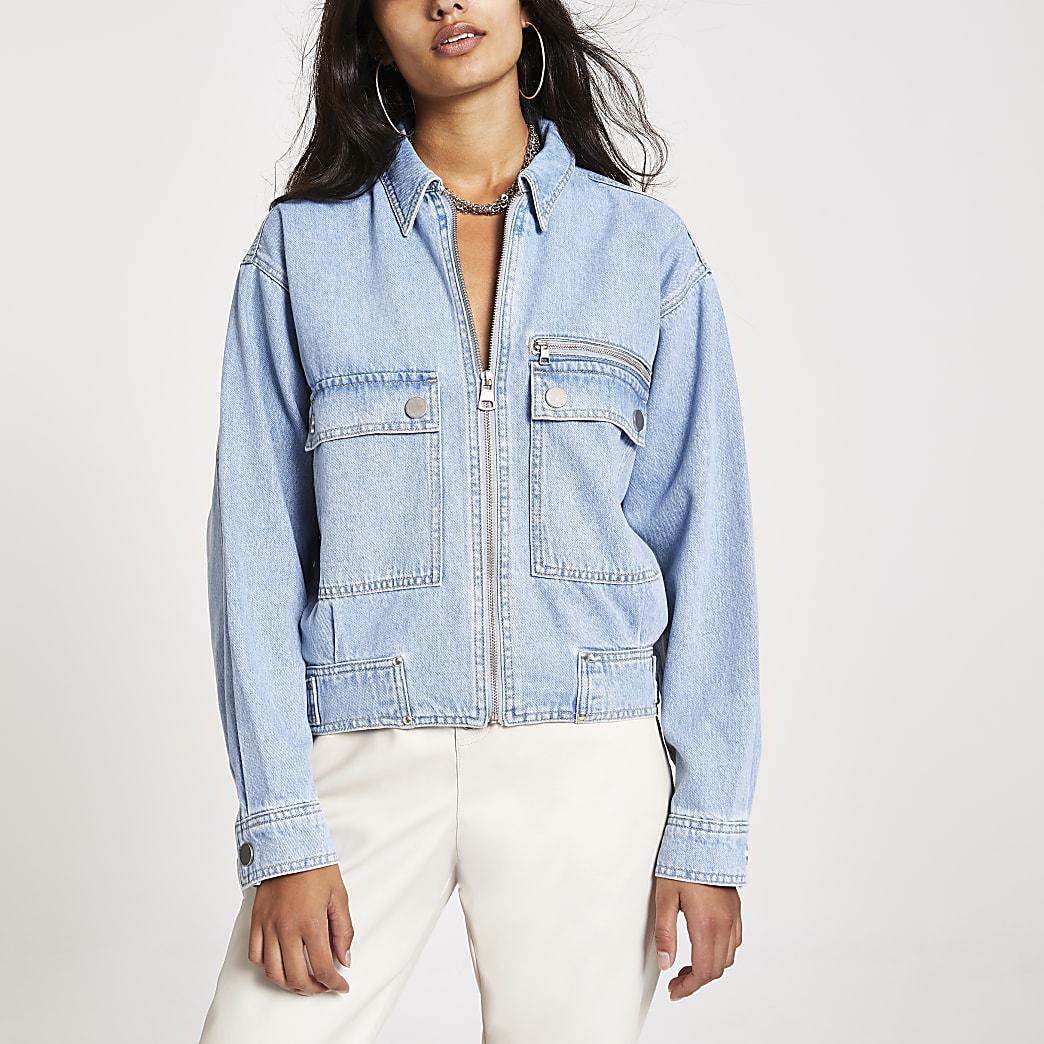 Light blue denim utility bomber jacket