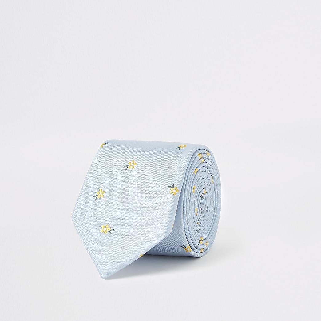 Cravate bleu clair à petites fleurs