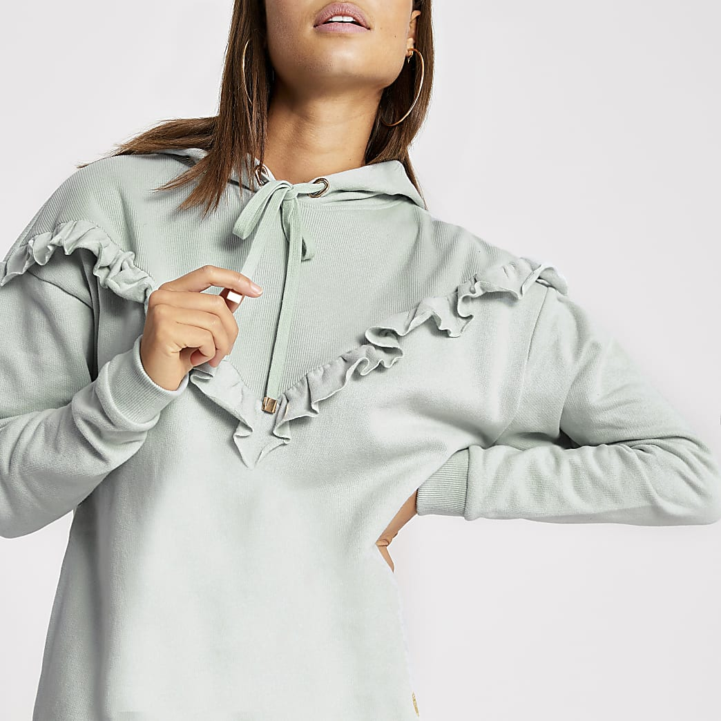 Light blue frill chevron ribbed hoodie