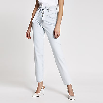 Light blue high rise belted tapered jeans