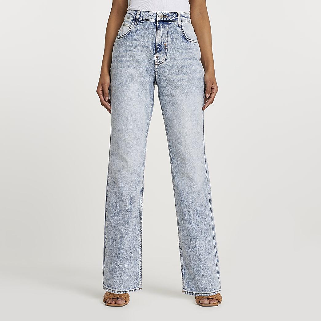 Light blue high rise straight jeans